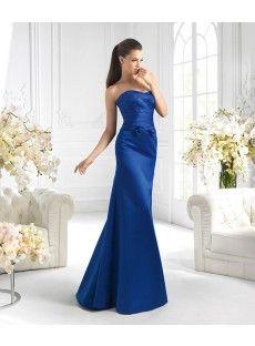 Strapless Floor Length Blue Satin Trumpet Mermaid Prom Dress