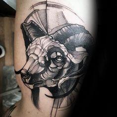 Watercolor Mens Bicep Capricorn Goat Tattoos