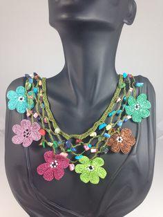 Handmade crochet multi color necklace.