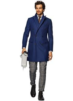 Blue Double Breasted Coat J285i   Suitsupply Online Store