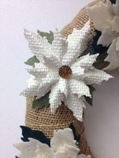 Burlap poinsettia flower sizzix die cut Tim holtz felt buttons pairofpetals.com