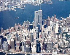 Here is a pre-attack photo of Lower Manhattan with the tall twin World Trade Center (WTC) buildings that became the prime target of the attack.