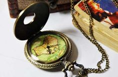 Map bronze pocket watch necklaceV83 by XsisterJewelry on Etsy, $7.99