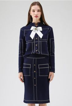Stay Chic Bowknot Knit Cardigan and Skirt Set in Navy