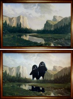 vintage painting canyon monsters --would love to try this, need to hit up the thrift shop!
