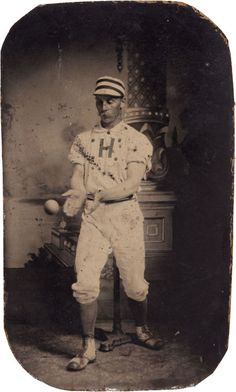 ca. 1880-1910, [tintype portrait of a baseball player catching a ball]  via Heritage Auctions