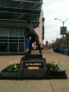 Blues legend and Hockey Hall of Famer Al MacInnis statue in front of Scottrade Center in St. Louis. Let's Go Blues!