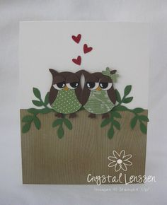 Valentine's Owl Always Love You Hearts Lovebirds card.