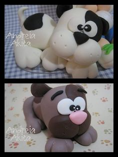 Sweet puppies Liz, we could totally make these for a cake Polymer Clay Figures, Cute Polymer Clay, Polymer Clay Animals, Cute Clay, Polymer Clay Crafts, Fondant Dog, Fondant Animals, Fondant Toppers, Cupcake Toppers