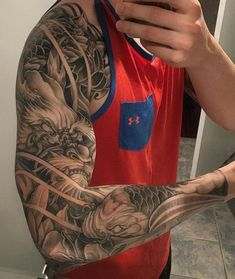 You can find Japanese sleeve and more on our website. Koi Tattoo Sleeve, Dragon Sleeve Tattoos, Forearm Sleeve Tattoos, Best Sleeve Tattoos, Tattoo Sleeve Designs, Body Art Tattoos, Buddha Tattoos, Tatoos, Japanese Dragon Tattoos