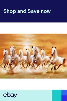 Walls And Murals Vaastu Paintings For Home - 7 Running Horses (Large) - Original Artist Work ( Copyright Protected), X Seven Horses Painting, White Horse Painting, Horse Canvas Painting, 3d Wallpaper Painting, Horse Wallpaper, Wallpaper Ceiling, Horse Wall Art, Horse Artwork, Sunset Landscape