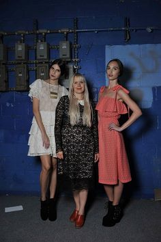 Paola Suhonen in her own design with models from the Spring/Summer 2013 runway show #spring2013 #nyfw #designer #fashion