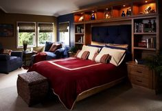 Teen Room: Elegant Contemporary Teenage Boys Bedroom With Tufted Headboard Bed And Built In Wooden Bookshelves Cabinets Design Ideas: 29 Teenage Boys Rooms Design Ideas