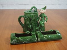 Vintage Treasure Craft Pixie Elf Sugar Bowl and Toothpick Holders Tabletop Set by FireflyVintageHome on Etsy