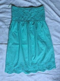 Raviya Strapless Elastic Bodice Green Eyelet Dress SZ Large 109% Cotton