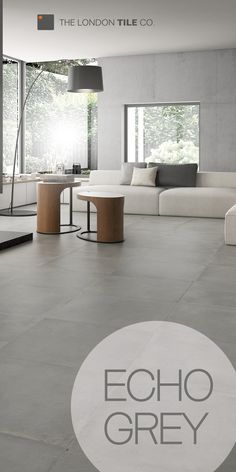 grey flooring Use the Echo range of tiles to create a modern living space Modern Floor Tiles, Grey Floor Tiles, Modern Flooring, Grey Flooring, Concrete Tiles Floor, Open Plan Kitchen Living Room, Living Room Modern, Living Room Designs, Living Spaces