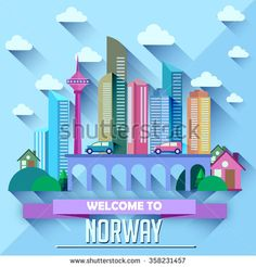 Norway - Flat design city vector illustration - stock vector