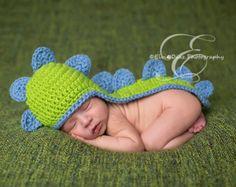 Newborn Baby Dinosaur Crochet Hat With Tail by KnitAndCrochetLAND