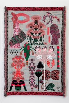 """Using Jacquard weaving technique, Amsterdam based designer Kustaa Saksi's """"Hypnopompic"""" features large-scale psychedelic tapestries portrayi..."""