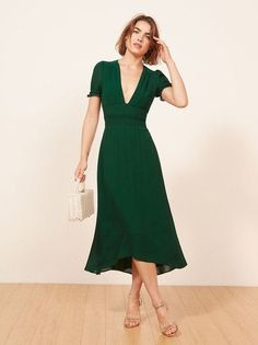 Ciao. This is a midi length dress with slighlty puffed shoulders, a smocked waist and a deep v neckline.