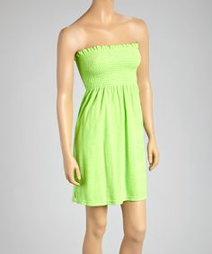 4b89ed4d7d19 Raya Sun Lime Smocked Terrycloth Strapless Cover-Up - Women   Plus