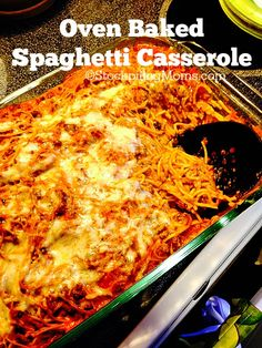 Oven Baked Spaghetti Casserole is a great comfort meal that you can prep ahead of time. It is perfect for potlucks, family gatherings or weeknight dinners.  You can even freeze this meal and save for another time, making it a great freezer meal.