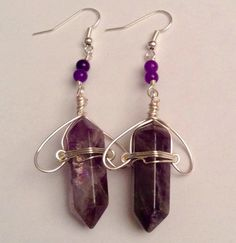 Hand wrapped Amethyst earrings with Amethyst accents