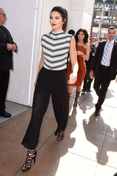 in Kendall + Kylie for Topshop culottes at the Kendall + Kylie Jenner Topshop launch party in Los Angeles.