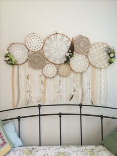 Bohostyle Dream catchers bright color knitted dream catchers handmade wall decor home decor wall hanging dream catcher Dream Catcher Decor, Lace Dream Catchers, Doilies Crafts, Crochet Doilies, Hanging Wall Art, Diy Wall Art, Dreamcatchers, Handmade Home Decor, Diy Home Decor
