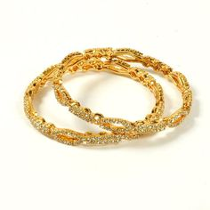 Jewbang gold plated celebrity type full white stone 26Size bangles set for Girls JB472