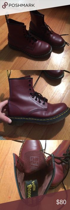 Cherry Res Leather Dr Martens US size 9 Very very very lightly worn (maybe 2/3 times?) great quality willing to take offers Dr. Martens Shoes Combat & Moto Boots
