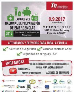 """Univision Arizona te invita al """"Expo del Mes Nacional de Preparación de Emergencias"""" el 9 de septiembre desde las 10am en el centro comercial Metro Center en Phoenix. Actividades y recursos para toda la familias asientos de seguridad vacunas contra la gripe seguridad en el agua RCP y mucho más! Te esperamos!"""