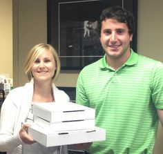 Chandra and her coworkers at Michael Deeba CPA office about to enjoy some breakfast from Wedge Pizza!   Follow @Oklahoma Employees Credit Union on Twitter for a chance to win breakfast every Wednesday morning!