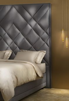 Unique design for an upholstered headboard. Headboard Makeover, Bed Headboard Design, Tall Headboard, Headboards For Beds, Headboard With Lights, Bedding Inspiration, Bed Back, Cool Beds, Dream Decor