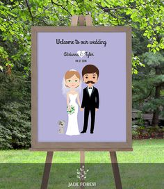 ♥ CLICK NOW TO SAVE 10% (Coupon code: PIN10) ▷ Wedding Welcome Sign DIY // Newlywed Couple by JadeForestDesign