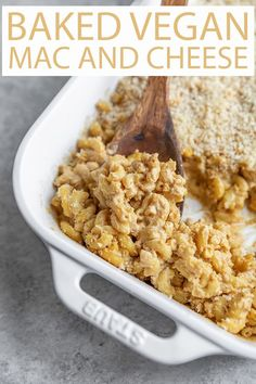 Baked Vegan Mac and Cheese! Creamy, cheesy vegan mac and cheese topped with breadcrumbs and baked until golden brown and delicious. A fantastic non-dairy casserole for new moms and families! #veganrecipes #veganmacandcheese #bakedmacandcheese #bakedveganmacandcheese Vegetarian Recipes Easy, Vegan Dinner Recipes, Vegan Breakfast Recipes, Delicious Vegan Recipes, Vegan Dinners, Healthy Recipes, Pasta Side Dishes, Main Dishes, Cheesy Pasta Recipes