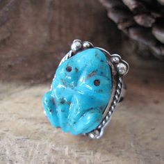 Vintage Silver and Carved Turquoise Frog by DatedandAntiquated