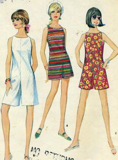 60s 70s shorts playsuit summer sportswear casual stripes floral white red yellow green illustration print ad Vintage McCalls 8815 UNCUT Misses Jumpsuit - Romper - Pant Dress Sewing Pattern Size 14 Bust 34