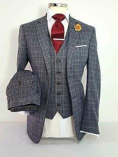 MENS 3 PIECE CHECK TWEED GREY SUIT PARTY PROM TAILORED WORK SMART WEDDING in Clothes, Shoes & Accessories, Men's Clothing, Suits & Tailoring | eBay #menweddingsuits
