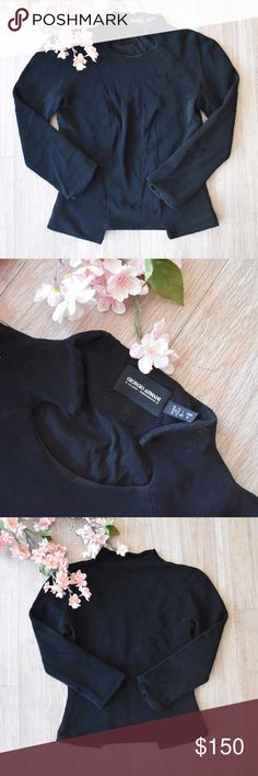 "🌸 Giorgio Armani ""Black Label"" Top Pre-loved but only worn once and is absolutely beautiful! no staining or ripping! 💘 super well made and all the little details are stunning! the neckline is so unique as is the coordinating hem of the shirt. This blouse is so classy and would be a great addition to any professional wardrobe! fitted. 3/4 sleeves. Giorgio Armani Tops Blouses"
