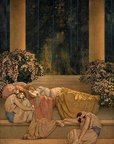 "Maxfield Parrish (American, 1870 - 1966), ""Sleeping Beauty"""