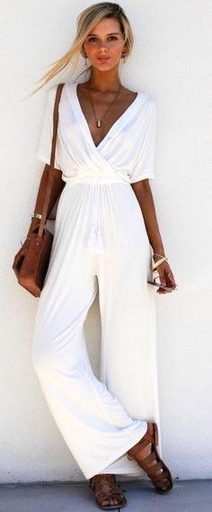 #summer #trending #fashion | White Jumpsuit