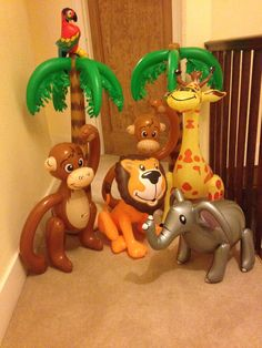 Inflatable animal props are a big hit at any kids jungle theme party!