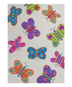 Look at this #zulilyfind! Ivory Butterfly Rug by KAS Kids #zulilyfinds
