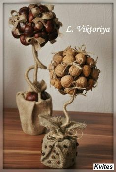 tree decorations made with walnuts Diy Home Crafts, Diy Arts And Crafts, Fall Crafts, Crafts For Kids, Handmade Decorations, Christmas Decorations To Make, Tree Decorations, Simple Christmas, Christmas Crafts