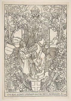 "Conrad Celtis Presenting His Book  ""Quatuor Libri Amorum"" to Maximilian I ( from the book)"