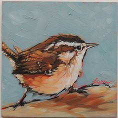 Wren painting, 4x4 inch original impressionistic oil painting of a Wren. Bird paintings, paintings of birds