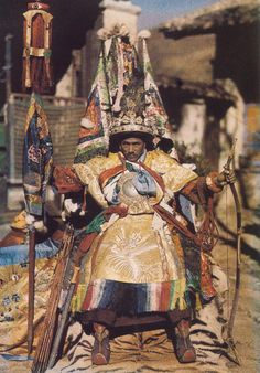 The Nechung Oracle, Tibet, 1935, photo by Joseph Rock. The oracle is a medium for sacred energy which takes possession of him for the purpose of providing advice & counsel to HH the Dalai Lama. Because of the physical demands of being a medium he will not live a long life. May it be of benefit:) ~Tsheringma Khandro