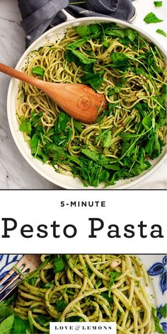 Easy Pesto Pasta is a delicious healthy and satisfying weeknight dinner. With under 10 ingredients this recipe is flexible and takes minutes to make. Pesto Pasta Recipes, Veggie Recipes, Basil Recipes, Vegan Pasta, Vegetarian Dinners, Vegetarian Recipes, Healthy Recipes, Vegan Meals, Roasted Vegetable Pasta