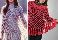 Simple Women's Poncho For Summer and Spring   - free pattern and video tut.